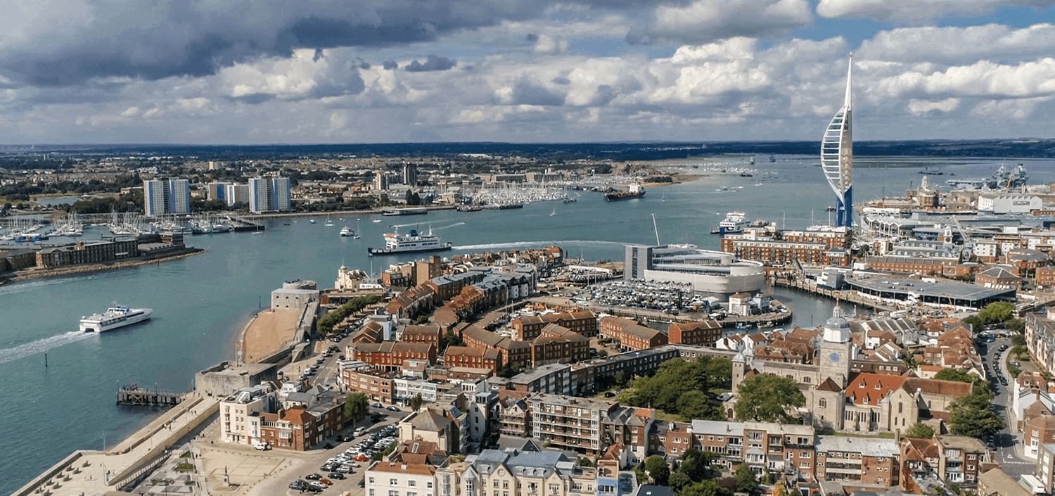 Aerial view of portsmouth dock
