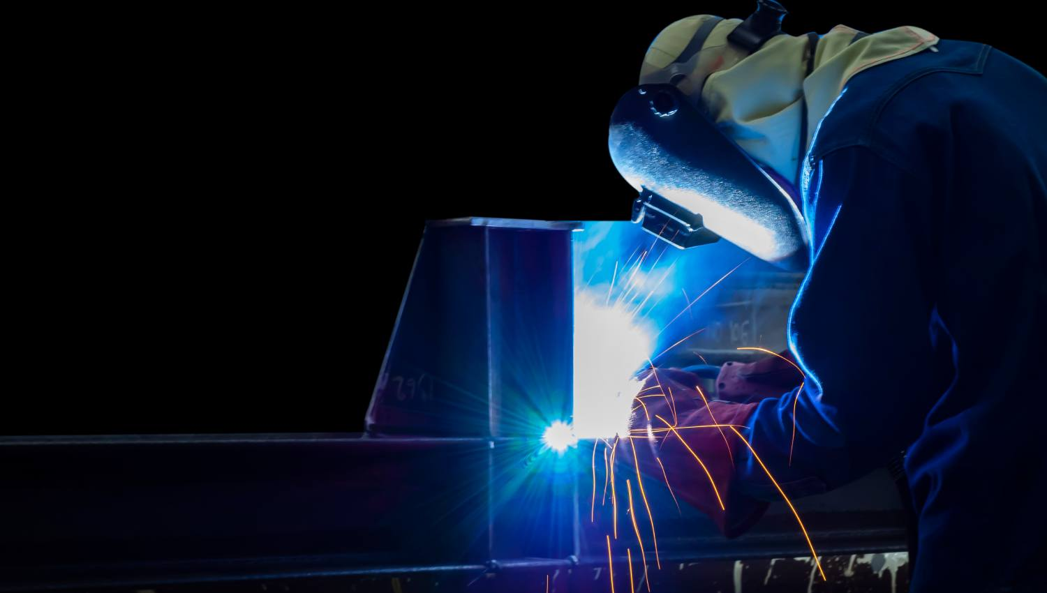 Man welding pipework fabrication welding services Hythe Marine Services
